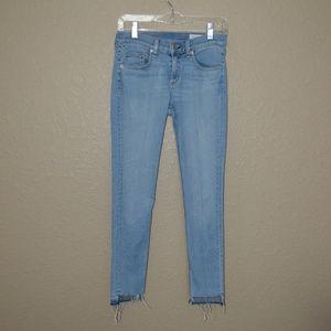 Sz 26 Rag & Bone Blue Wiley Capri Destroyed Jeans